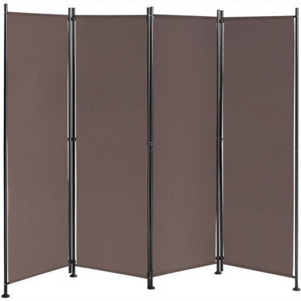 4-Panel Room Divider Folding Privacy Screen-Coffee