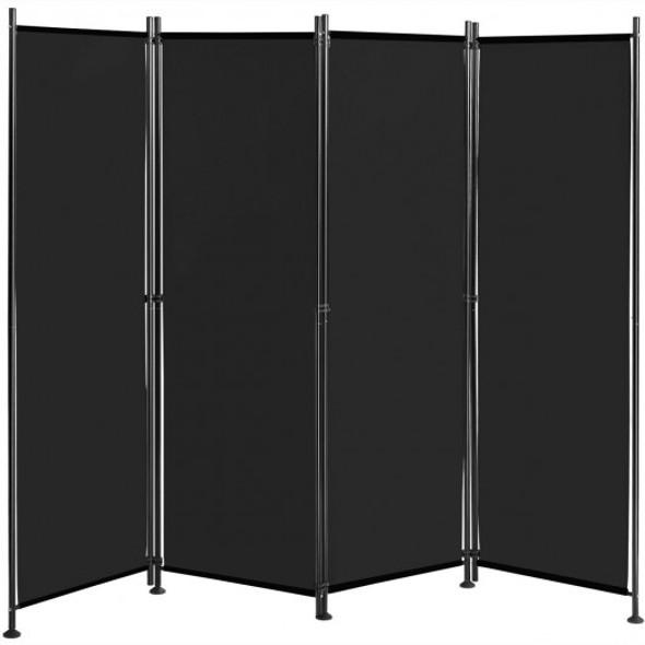 4-Panel Room Divider Folding Privacy Screen-Black