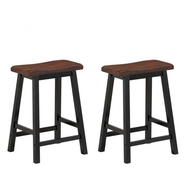 """24"""" Height Set of 2 Home Kitchen Dining Room Bar Stools-Coffee"""