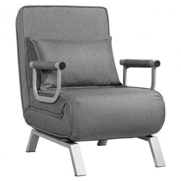 Folding 5 Position Convertible Armchair Couch with Pillow-Gray