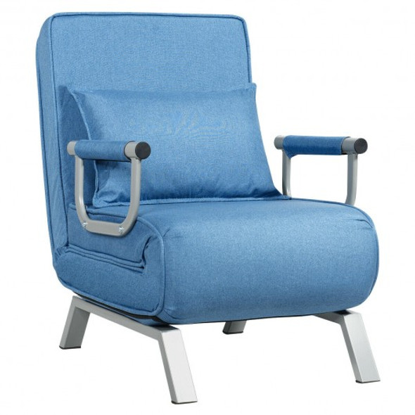 Folding 5 Position Convertible Sleeper Bed Armchair Lounge Couch with Pillow-Blue