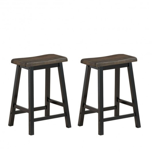 """24"""" Height Set of 2 Home Kitchen Dining Room Bar Stools-Brown"""
