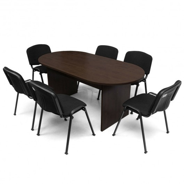 "69"" x 35"" Oval Conference Table with Rectangle Panel Base"