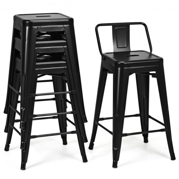 "24"" Set of 4 Low Back Metal Counter Stool Stools-Black"
