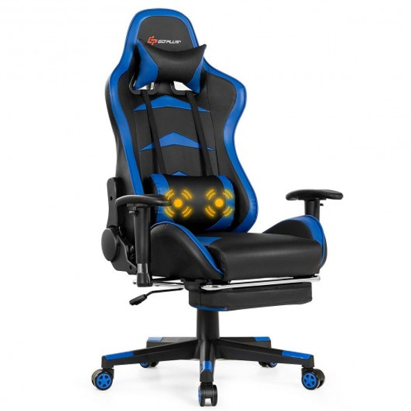 Massage Gaming Chair with Footrest-Blue