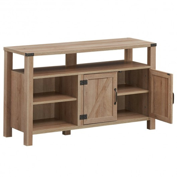 Entertainment TV Stand with Storage Cabinet & Shelf-Natural