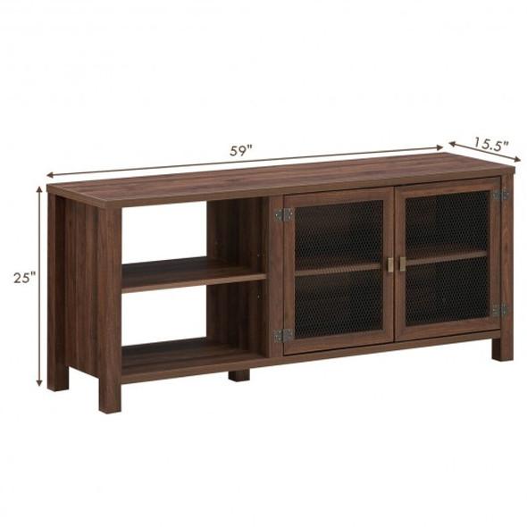 Wooden TV Stand with 2 Metal Mesh Doors -Walnut