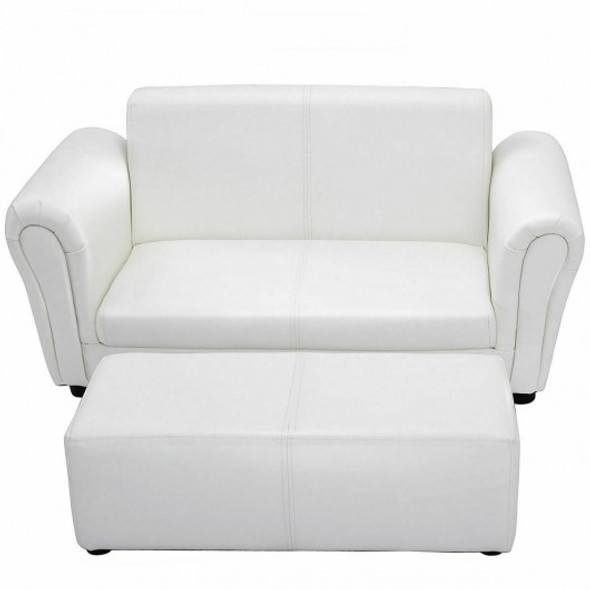 Soft Kids Double Sofa with Ottoman-White
