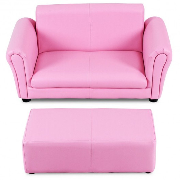 Soft Kids Double Sofa with Ottoman-Pink