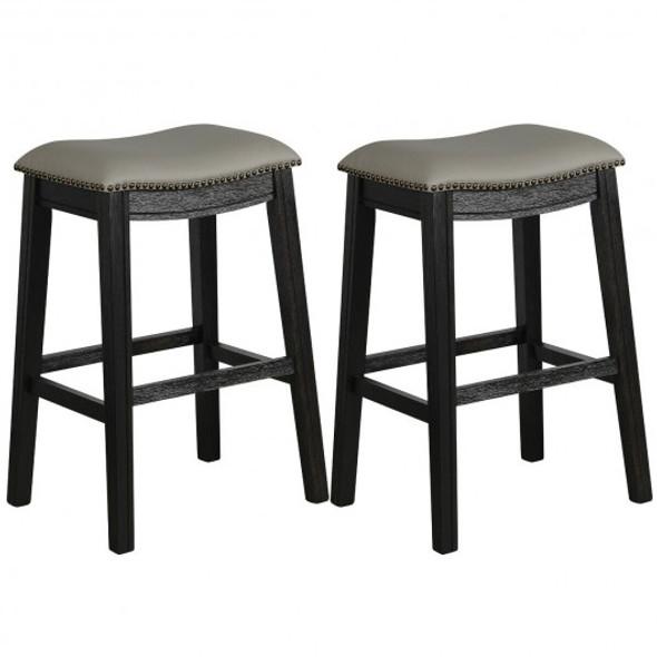 "29"" Set of 2 Saddle Nailhead Kitchen Counter-Black Chair"