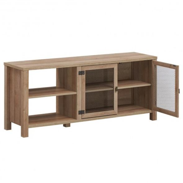 Wooden TV Stand with 2 Metal Mesh Doors -Natural