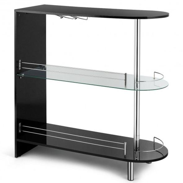 2-holder Bar Table withTempered Glass Shelf