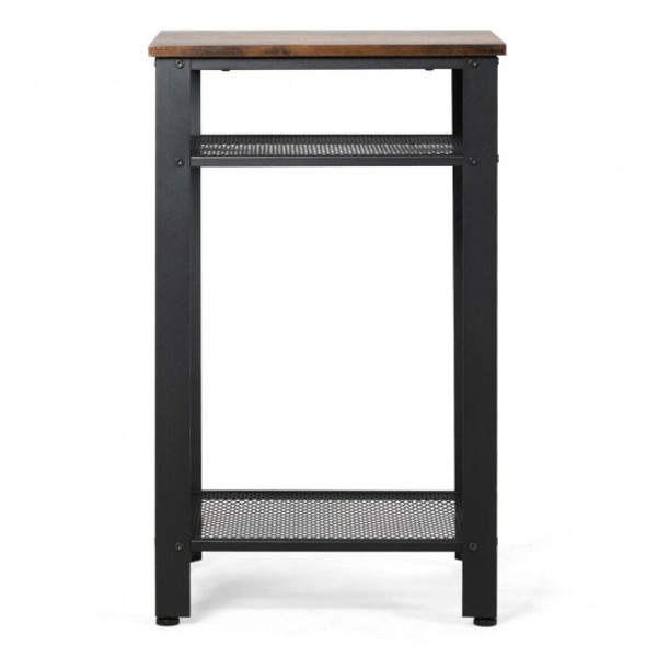 3-Tier Industrial Tall Nightstand Side End Telephone Table