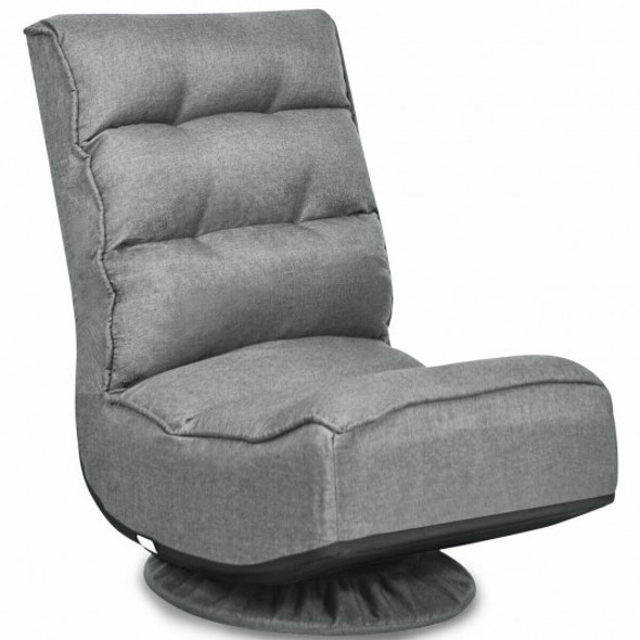 5-Position Folding Floor Gaming Chair-Gray