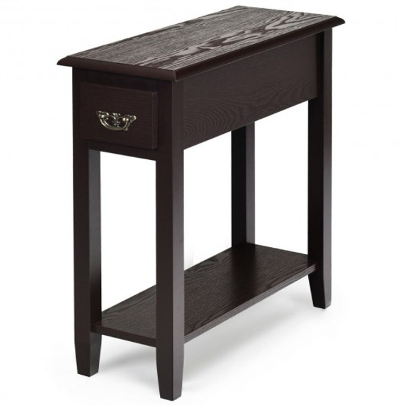 2 Tier End Bedside Sofa Side Table Narrow Nightstand-Espresso