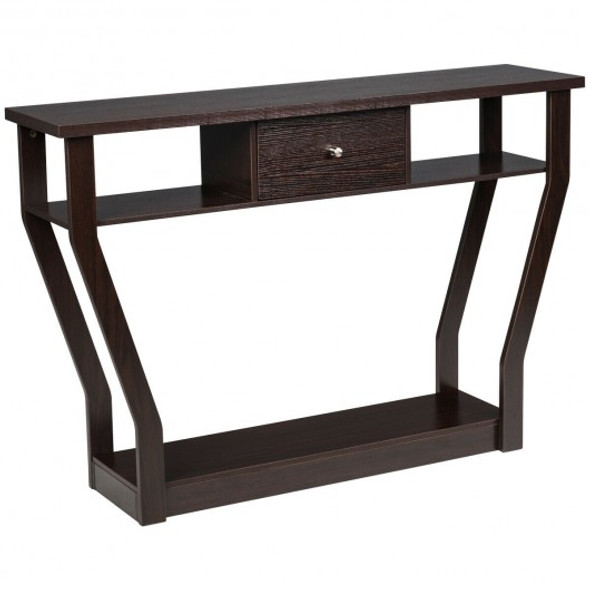 Modern Sofa Accent Table with Drawer-Brown