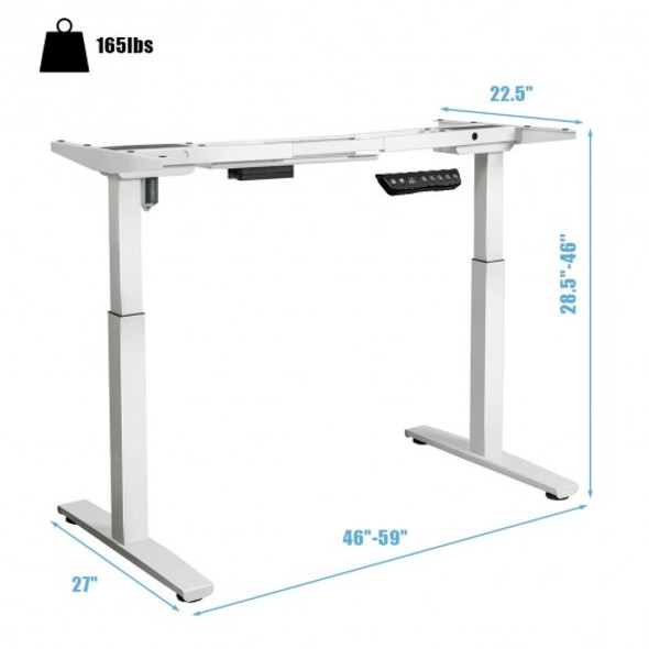 Adjustable Electric Stand Up Desk Frame-White