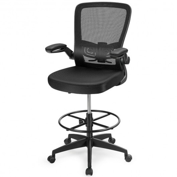 Drafting Chair Adjustable Height with Lumbar Support Flip Up Arms