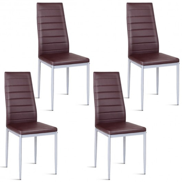 4 pcs PVC Leather Dining Side Chairs Elegant Design -Coffee