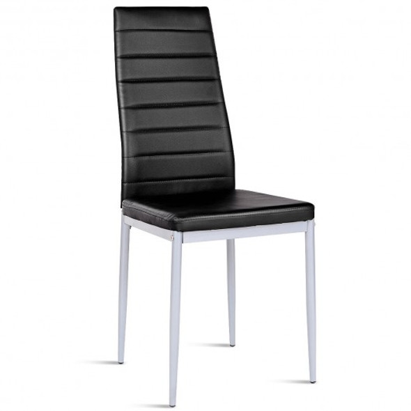 4 pcs PVC Leather Dining Side Chairs Elegant Design -Black