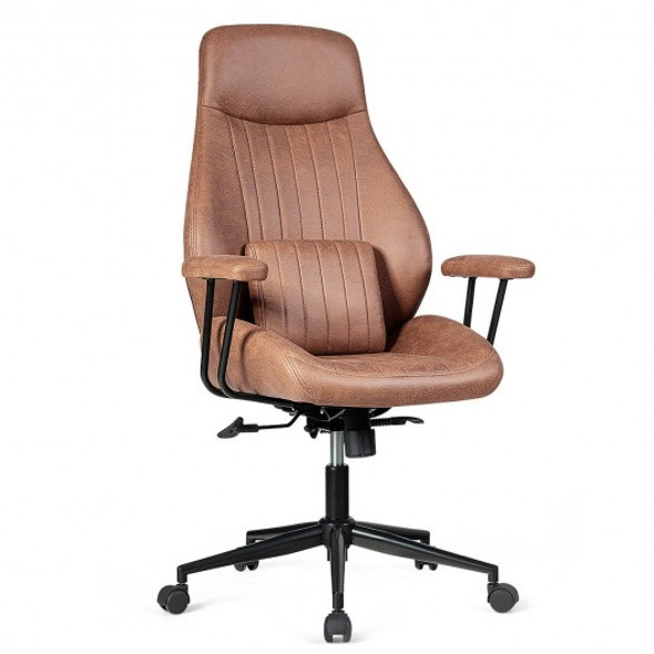 Adjustable Ergonomic High Back Office Chair with Lumbar Support-Deep Brown
