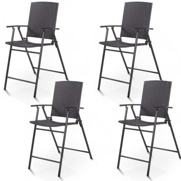 4 pcs Rattan Wicker Folding Chairs