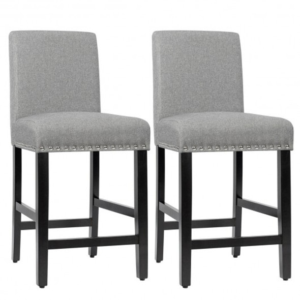 25'' Kitchen Chairs w/ Rubber Wood Legs-Gray