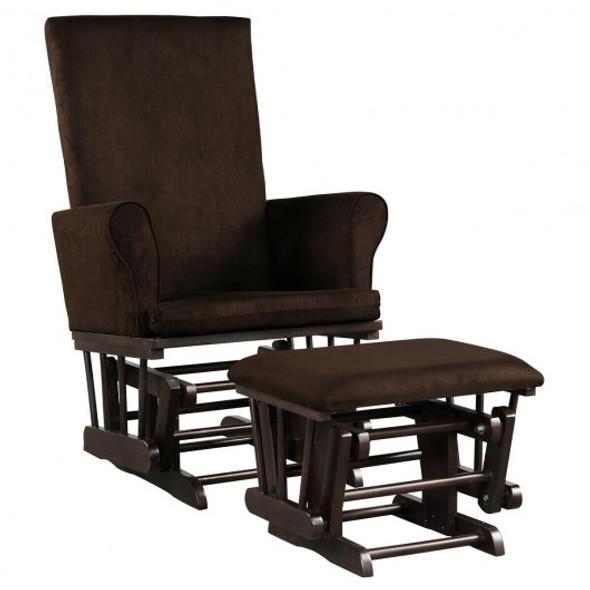 Baby Nursery Relax Rocker Rocking Chair Glider & Ottoman Set-Coffee