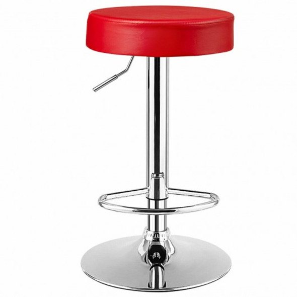 1 PC Round Bar Stool Adjustable Swivel Pub Chair-Red