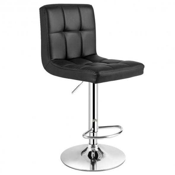 Adjustable Swivel Bar Stool with PU Leather-Black