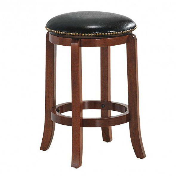 """24""""Bistro Leather Padded  Backless Swivel Bar stool"""