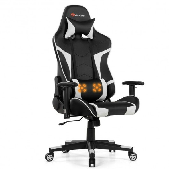Reclining Swive Massage Gaming Chair-White