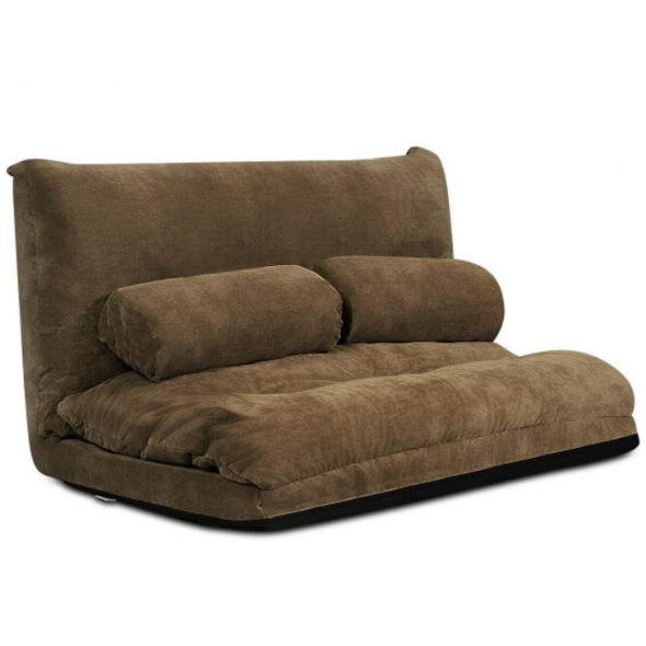 6-Position Adjustable Sleeper Lounge Couch with 2 Pillows-Coffee
