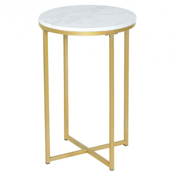 X-Shaped Marble Top Small Round Side Table End Table