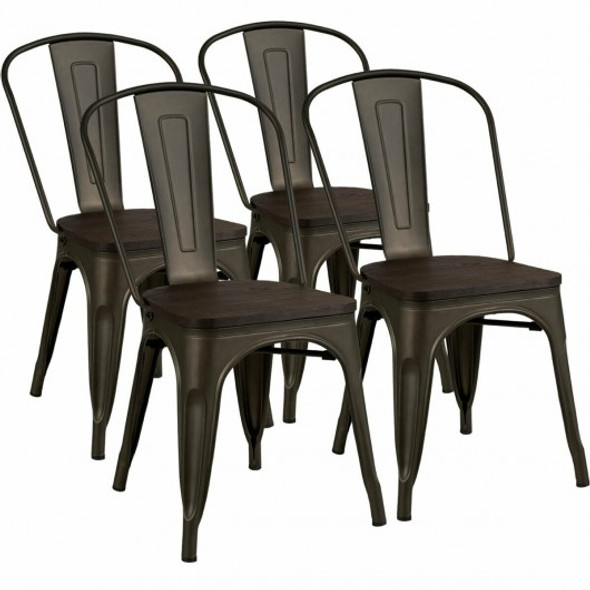 4 pcs Tolix Style Metal Dining Side Chair Stackable Wood Seat-Black
