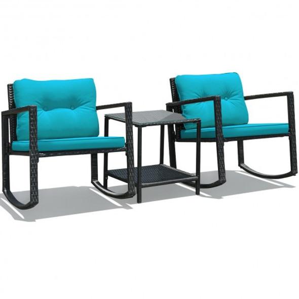 3 Pcs Patio Rattan Set Rocking Chair Cushioned Sofa Garden Furniture-Blue