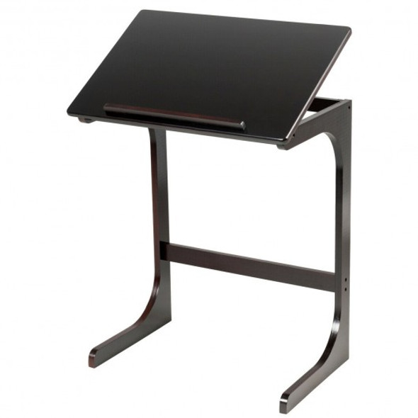 Adjustable C-Shape Couch End Table wth Tilting Top-Brown