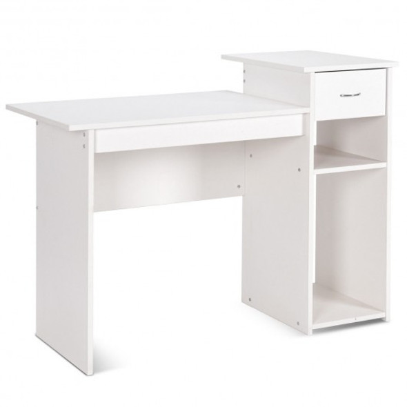 Computer Desk PC Laptop Table with Drawer and Shelf-White