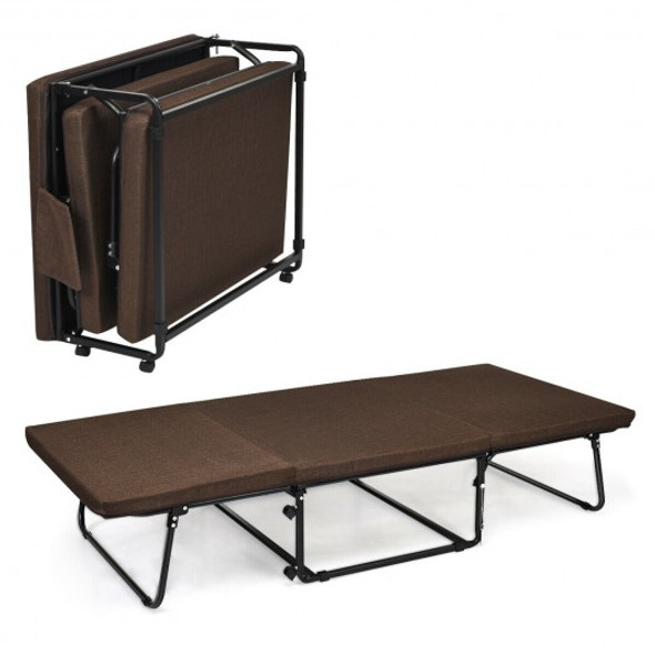 Folding Guest Sleeper Bed w/6 Position Adjustment-Brown