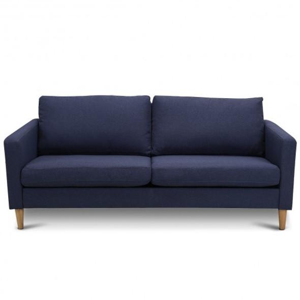 Upholstered Modern Fabric Love Seat Sofa-Blue