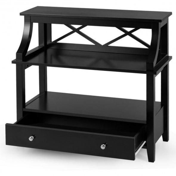 3-Tier Storage Rack End table Side Table with Slide Drawer -Black