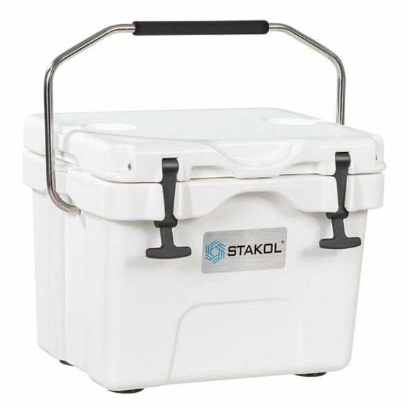 16 Quart Portable Ice Cooler with 24 Cans-White