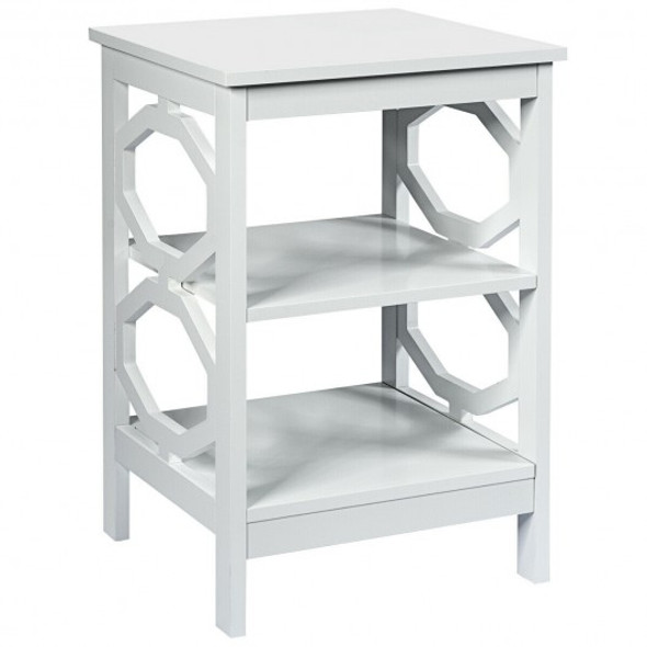3-tier Nightstand Sofa Side End Accent Table-White