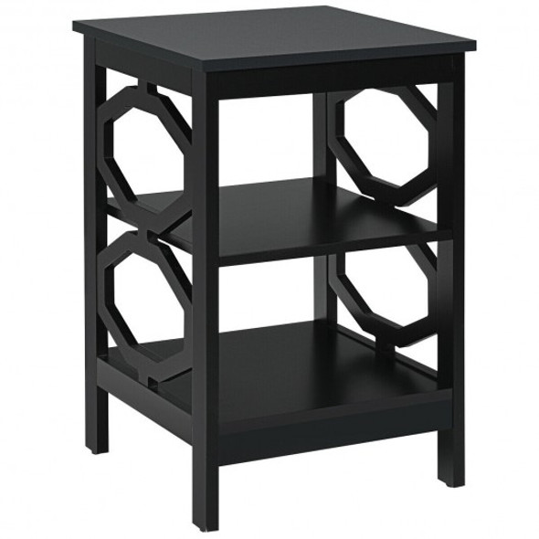3-tier Nightstand Sofa Side End Accent Table-Black