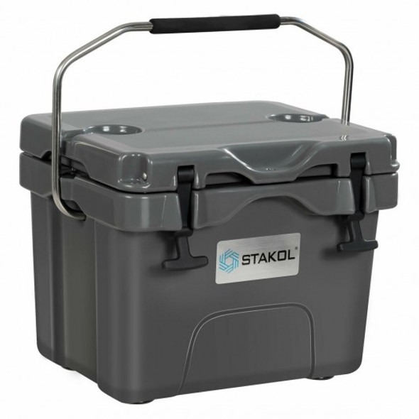 16 Quart Portable Ice Cooler with 24 Cans-Gray