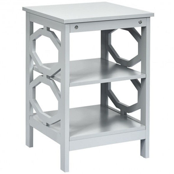 3-tier Nightstand Sofa Side End Accent Table-Gray