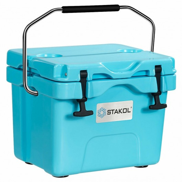 16 Quart Portable Ice Cooler with 24 Cans-Blue