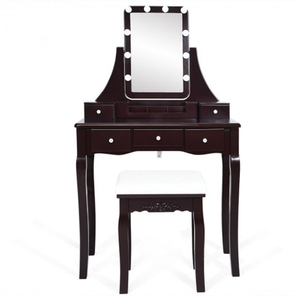 Dimmable Bulbs Touch Switch Vanity Dressing Table Set with Removable Box-Coffee