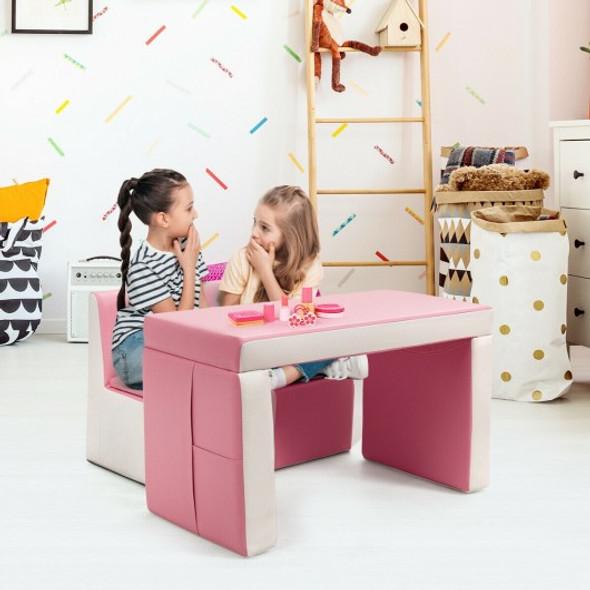Multi-functional Kids Sofa Table Chair Set-Pink