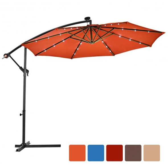 10' Patio Hanging Umbrella Sun Shade with Solar LED Lights-Orange